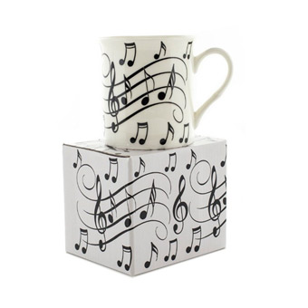 Music Word Mug - Notes - Black & White