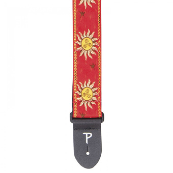 Cotton Jacquard Guitar Strap - Yellow Suns