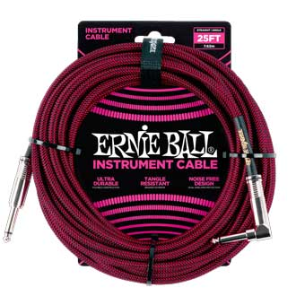 25' Braided Straight / Angle Instrument Cable - Black/Red