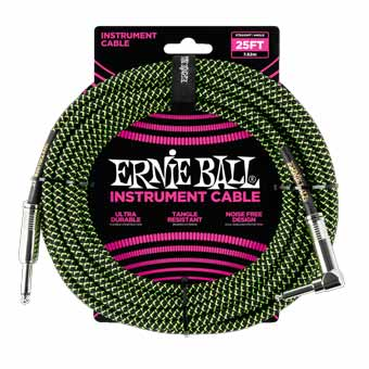 25' Braided Straight / Angle Instrument Cable - Black/Green