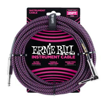 25' Braided Straight / Angle Instrument Cable - Black/Purple