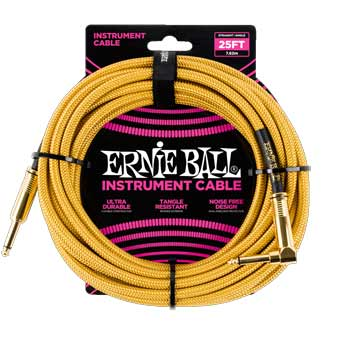 25' Braided Straight / Angle Instrument Cable - Gold/Gold
