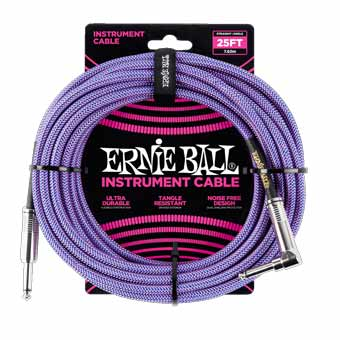 25' Braided Straight / Angle Instrument Cable - Purple