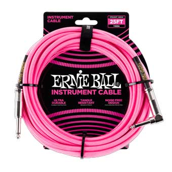 25' Braided Straight / Angle Instrument Cable - Neon Pink