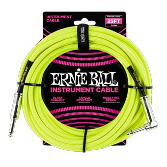 25' Braided Straight / Angle Instrument Cable - Neon Yellow