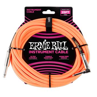 25' Braided Straight / Angle Instrument Cable - Neon Orange