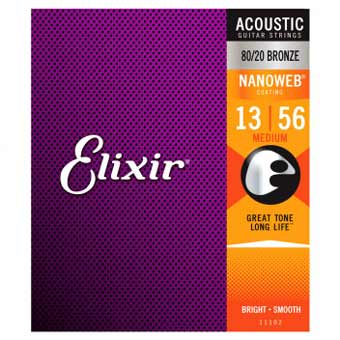 Nanoweb E11102 80/20 Bronze Acoustic Guitar Strings - 13-56 - Medium Gauge