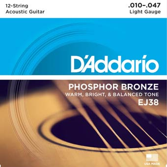 Phosphor Bronze 12 String Acoustic Strings - Light