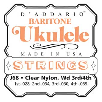 Clear Nylon/Silver Baritone Ukulele Srtings