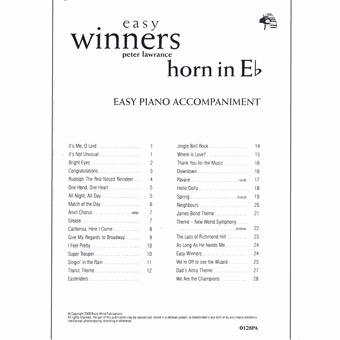 Easy Winners Piano Accompaniment - Eb Horn