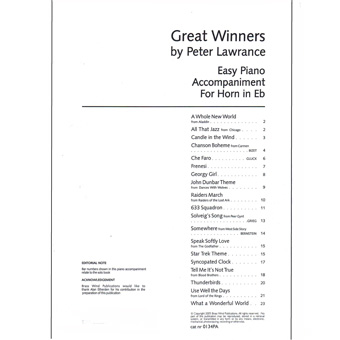 Great Winners - Piano Accompaniment - Eb Horn