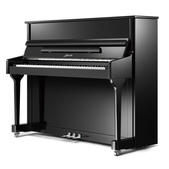 Classic (118cm) Upright Piano in Black Polyester with Chrome Fittings