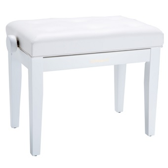RPB-300WH Piano Bench with Adjustable Cushioned Seat - White