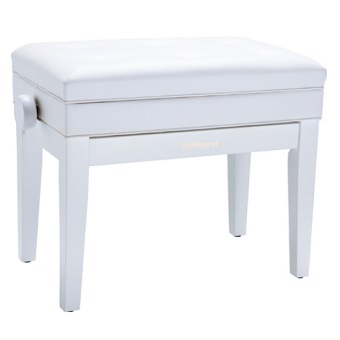 RPB-400WH Piano Bench with Adjustable Cushioned Seat and Storage - White